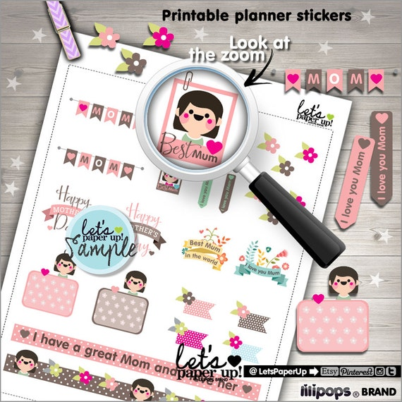 Mothers Day Stickers, Printable Planner Stickers, May