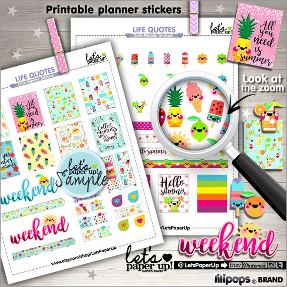 60 Off Summer Stickers Printable Planner Stickers Weekly