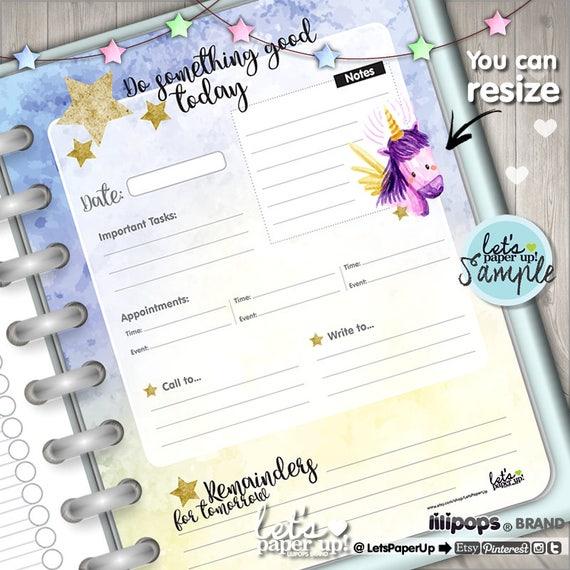 Unicorn Planner Printable Planner Daily Planner Organizer
