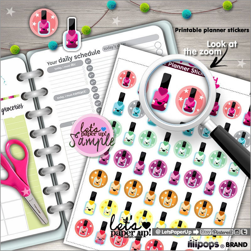 60%OFF Nail Polish Stickers Printable Planner Stickers