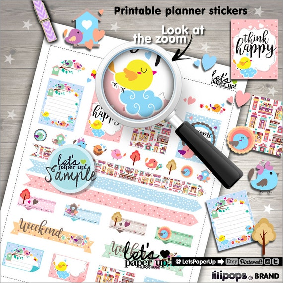 Bird Stickers Printable Planner Stickers Weekly Stickers Floral