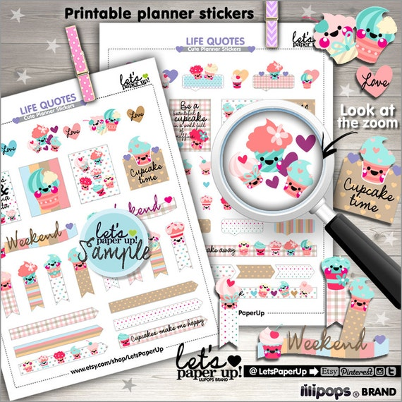 60 Off Cupcake Stickers Printable Planner Stickers Sweet