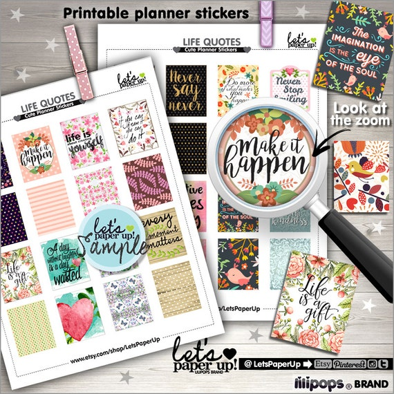 60 Off Quote Stickers Printable Planner Stickers Weekly Stickers