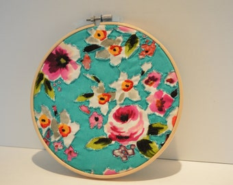 Teal Floral Embroidery Hoop Art and Wall Hanging