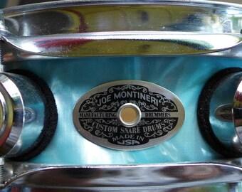 """Montineri Snare Drum 15"""" x 4"""" Aqua Satin Flame"""