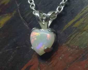 2d66c8a69d5 Opal heart pendant sterling silver or special order yellow gold or whit gold  Coober Pedy Australian white opal fire opal heart shaped .925