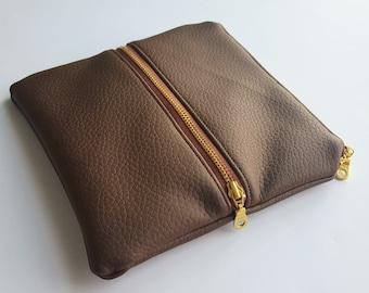 Brown Mini Double Zip Pouch - Clutch - Bag