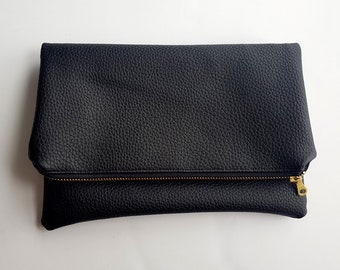 Black Fold-Over Clutch - Pouch - Bag