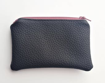 Black and Mauve Coin Purse - Pouch