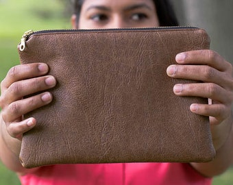 Brown Faux Leather Pouch - Bag