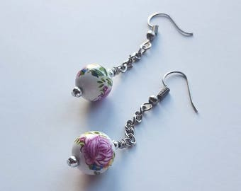 Pink and White Floral Ceramic Beads