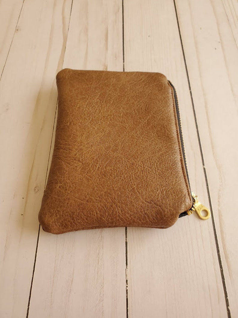 Brown Faux Leather Coin Purse Vegan Leather