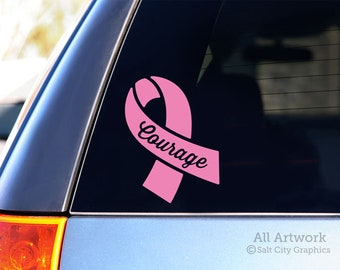 Courage Breast Cancer Ribbon Decal - Pink Awareness Ribbon Sticker - Pink Ribbon, Cancer Sucks - Car Decal, Window Sticker, Laptop Decal