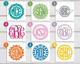 Monogram Vinyl Decal, Monogram Sticker - Personalized Monogram, Circle or Script - Car Decal, Laptop Sticker, Phone Sticker