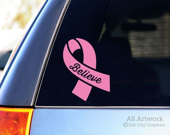 Believe Breast Cancer Ribbon Decal - Pink Awareness Ribbon Sticker - Pink Ribbon, Cancer Sucks - Car Decal, Window Sticker, Laptop Decal