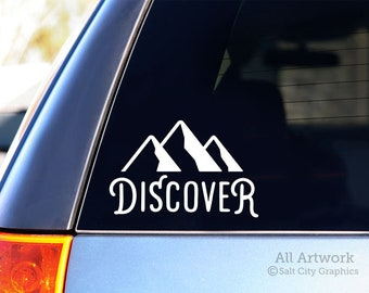 Discover Decal, Outdoor Adventure Sticker - Discover Nature, Mountains, Hiking, Camping - Car Decal, Bumper Sticker, Laptop Decal/Sticker