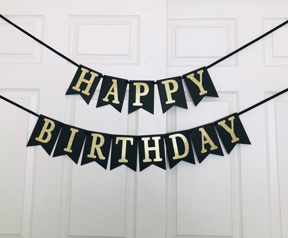 Black And Gold Happy Birthday Banner Birthday Party Etsy