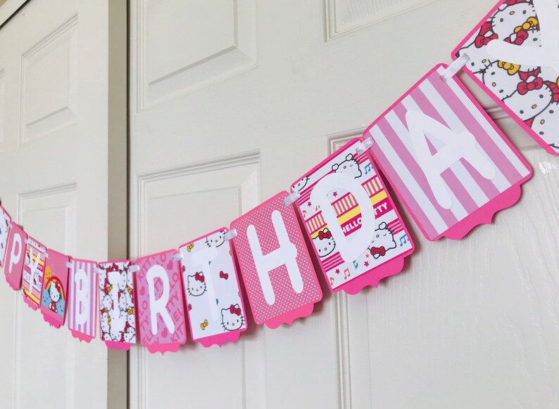 Hello Kitty Birthday Banner Hello Kitty Birthday Party Etsy