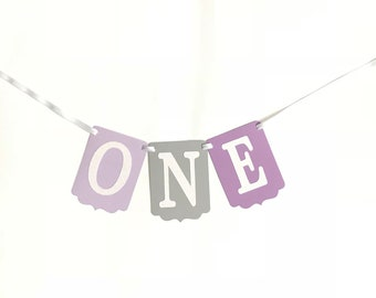 One High Chair Banner- Purple and Gray High Chair Banner- Purple Gray and White Banner