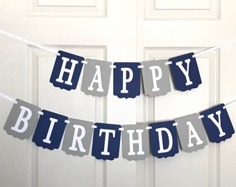 Blue and Gray Happy Birthday Banner- Birthday Party Decoration- Blue and Gray Birthday Banner