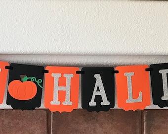 Happy Halloween Banner- Black Orange and silver Banner- Halloween Decoration