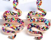 New KC JAT Designs Multicolor Seed Bead Serpent Earrings