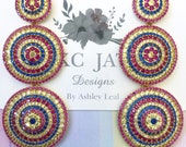 KC JAT Designs Red and Blue Multicolor Crystal Earrings