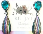 KC JAT Designs Emerald Crystal Studs with Multicolor Crystal Drops