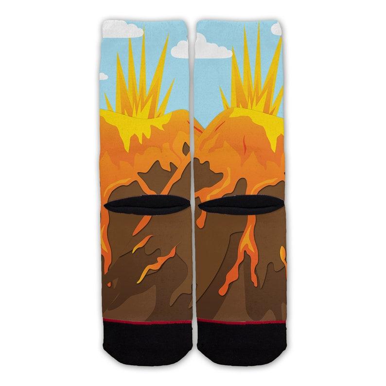 Function Volcano Lava Eruption Fashion Socks