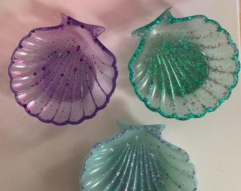 Pink and lilac shimmer seashell trinket dishsoap dish