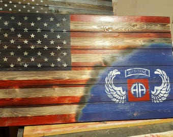 82nd Airborne Flag Display, Rustic American Flag Display, Patriotic Art, Gift for him, Retirement gift, Army Swag