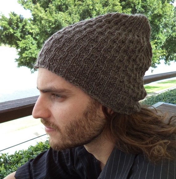Knitting Pattern Knit Beanie Patterns For Men Slouchy Hat Etsy