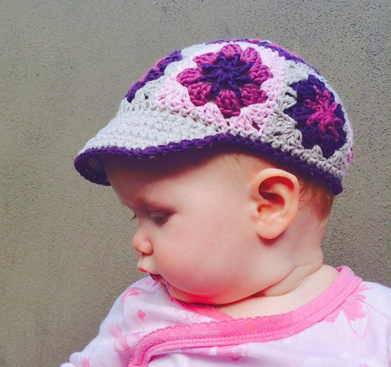 Daisy afghan square Baby cap pattern Crochet PATTERN Granny square crochet hat Sun visor hat Crochet VISOR hat pattern for baby