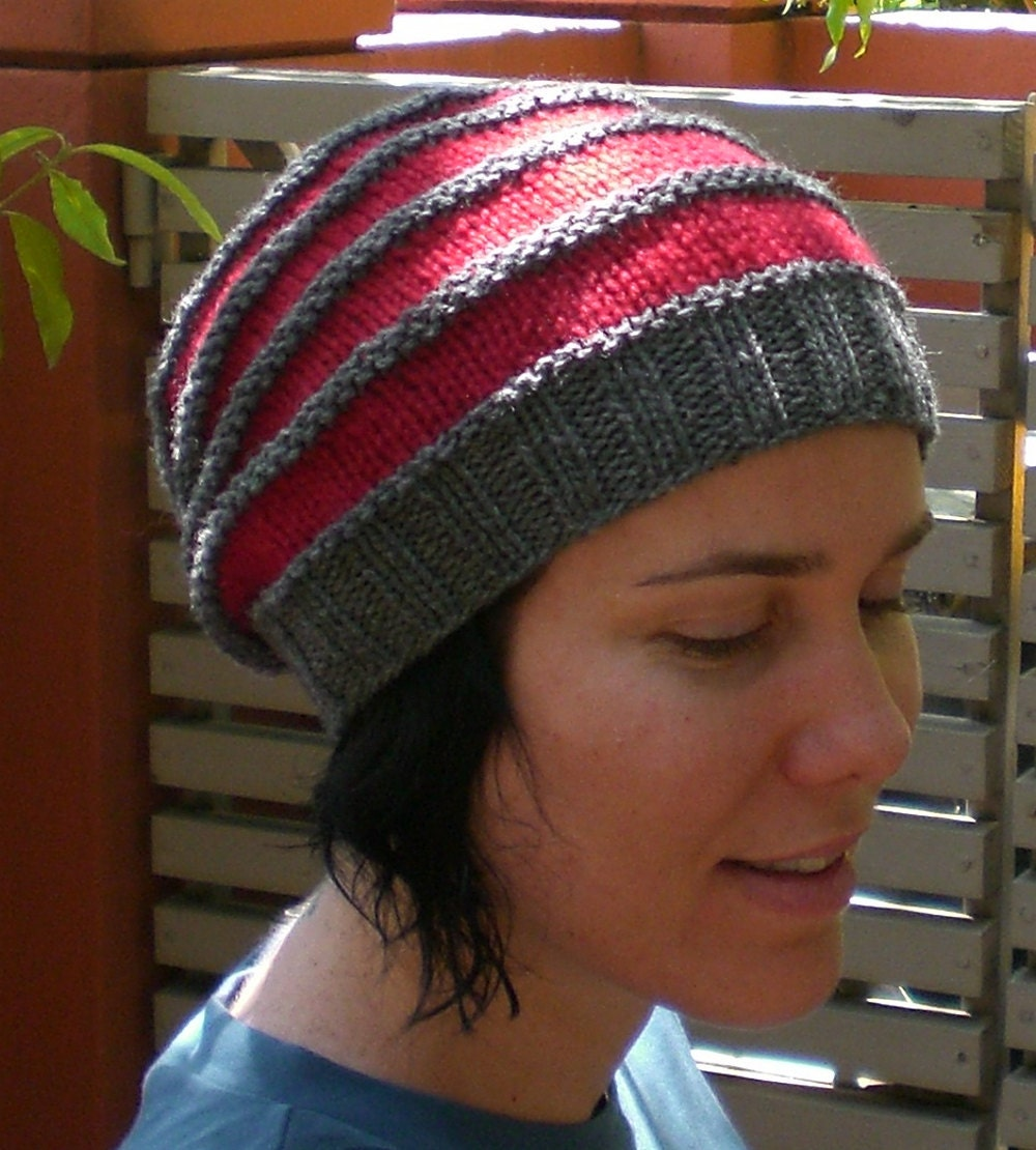Knitting PATTERN, Slouchy beanie for women and men - easy knit and ...