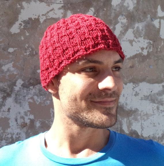 Knitting PATTERN Mens beanie patterns textured rib stitch  77dced10485