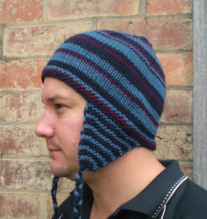 a05c7d848 Knitting PATTERN, Knit beanie with ear flaps for winter- easy knit pattern  in 3-color random striping designed for 6 mm circular needles