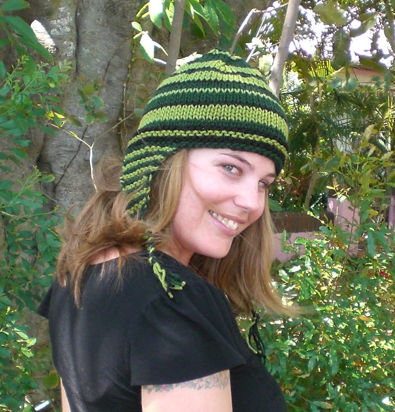 77eda8233 Knitting PATTERN, Ear flap beanie pattern - easy WINTER knit pattern for 12  ply, Aran or chunky yarns - random stripes for original hats