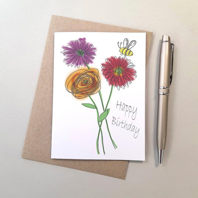 Gerbera Flowers Bee Birthday Card Blank