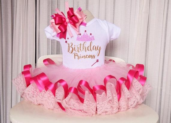 Brilliant Pink Ribbon Trim Tutu Lace Trim Tutu Birthday Princess Etsy Personalised Birthday Cards Akebfashionlily Jamesorg