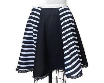 Black and white striped 3/4 circle skirt with lace trim