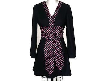 Black and Pink floral gothic dress, empire waist, sash obi