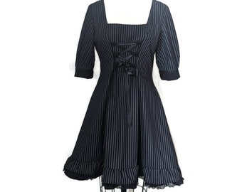 Grey and black striped dress gothic