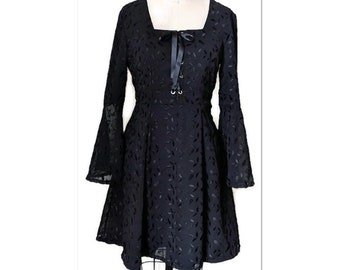Black gothic dress with embroidered chiffon