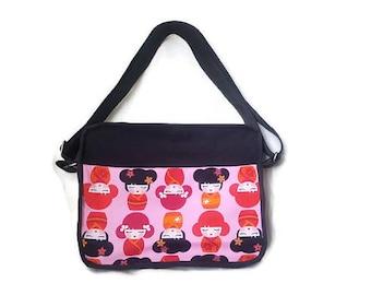 Black and pink Japanese dolls print, asian doll print handbag, cross body purse, box purse