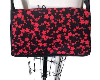 Red and black cherry blossom crossbody handbag purse
