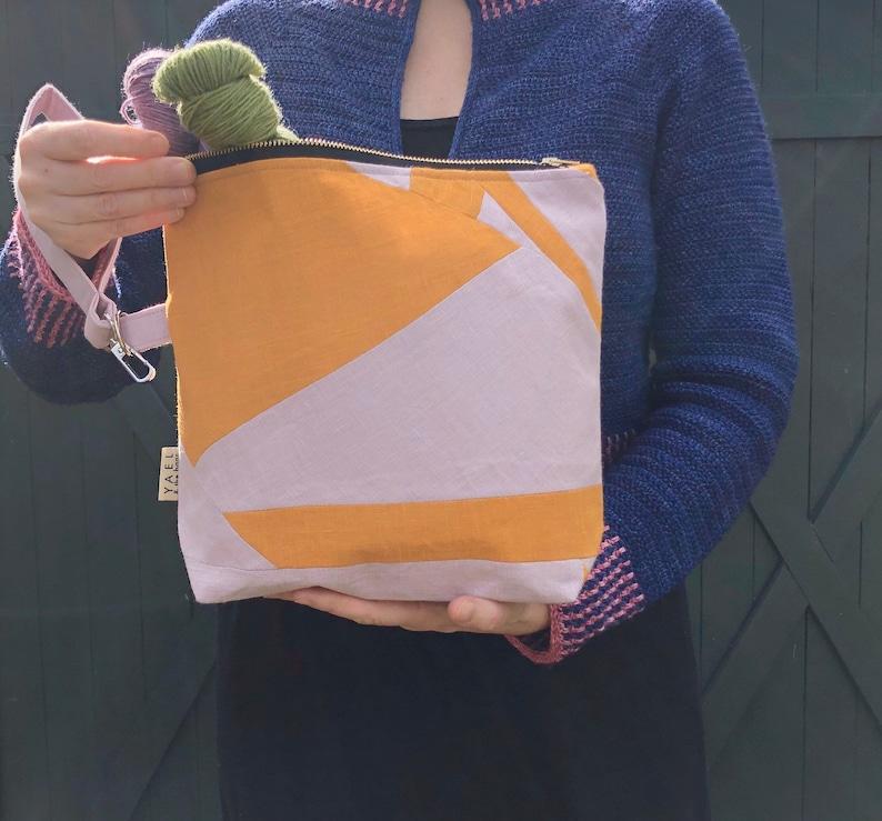 Patchwork bag  Medium sized project bag knitting bag craft image 0