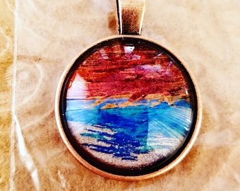 Hand painted pendant. Chain not included. Each piece OOAK
