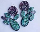 Fresh Cut Flowers - Handpainted Earrings (statement earrings - flower earrings - Swarovski crystal earrings - colorful earrings - rosebuds)