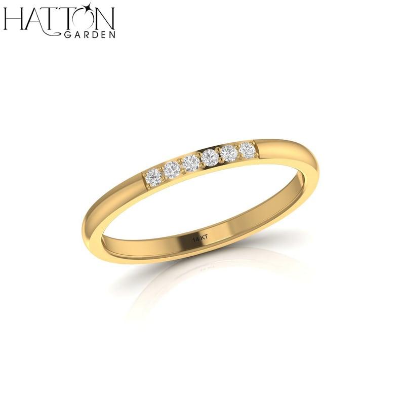 Rose Gold 0.02 cts  Nickel Free Baguette Diamond Engagement Ring  14k Yellow White