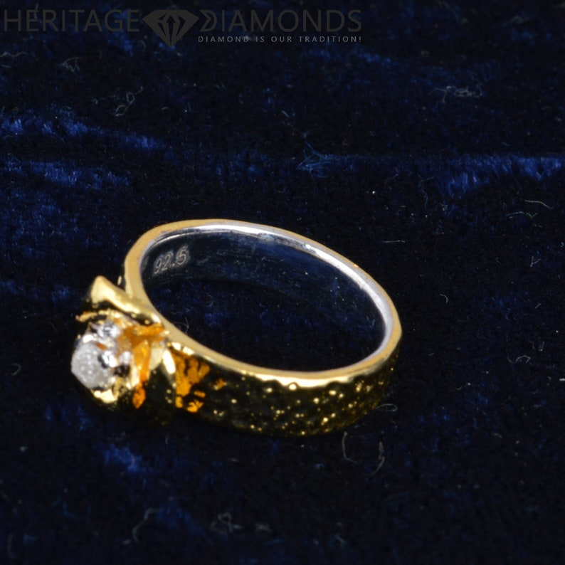 Designer Floral Look 925 Sterling Silver,14K Gold Plated 1.0 Cts Natural Rough Diamonds Wedding Ring 5.0 g 7.00 US Size